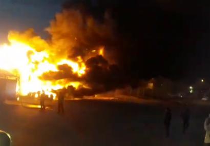آتش سوزی چند مغازه در طاهرگوراب صومعه سرا