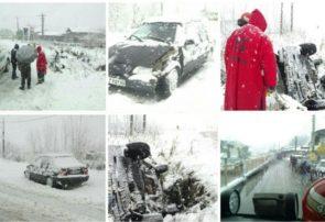 واژگونی خودرو و محبوس شدن راننده در جاده پیربازار رشت